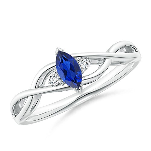Criss-Cross Marquise Sapphire Solitaire Ring with Diamonds in 14K White Gold (6x3mm Blue Sapphire)