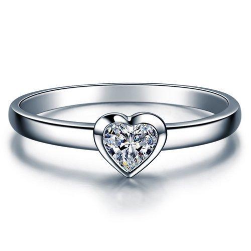 Heart Cut Moissanite Engagement Ring 14k White Gold Palladium Platinum Solitaire Handmade Diamond Ring Anniversary Ring Forever One