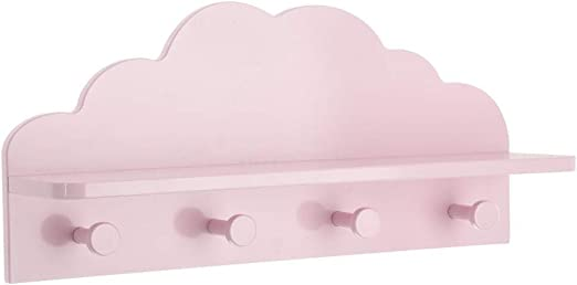 Atmosphera 2 en 1 Colgador + Estantería de Madera para niños - Forma Nube - Color Rosa