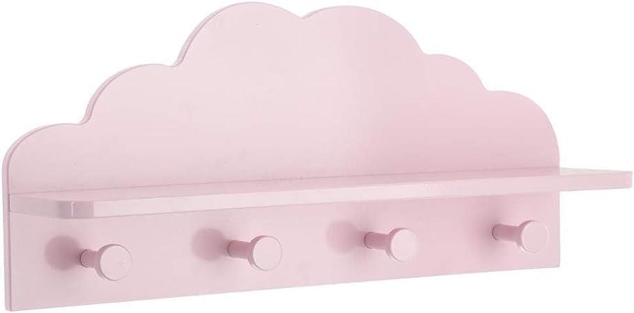 PERCHA Pared habitaci/ón BEB/É Nubes blancas madera lacada con base pl/ástico resina ABS 410x60MM