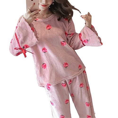 Franela Bedgown Lindo Cuello Invierno Casa Redondo Traje Pink Mangas Leeqn Trompeta Señoras Servicio Pijamas xB7FHq0