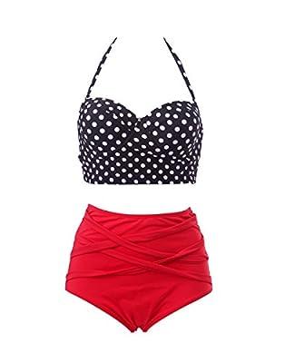 HDE Womens Retro Bikini High Waist Vintage Style Swimsuit 50s Pinup Bathing Suit (Black & Red, XL)