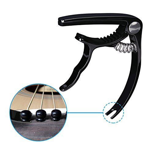 Large Product Image of Guitar Capo Guitar Accessories Trigger Capo with 6 Free Guitar Picks for Acoustic and Electric Guitars - Also Ukulele & Banjo Capos (Black)