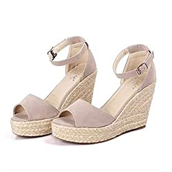 Women Wedge Sandals Fashion Concise Open Toe Platform High Heels Casual Shoes Beige 3 5