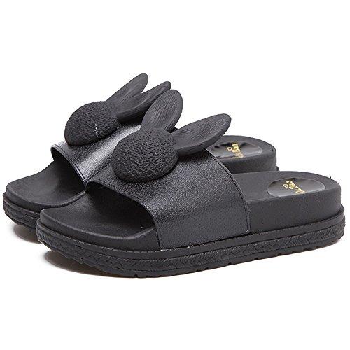 Zapatos Slide Tacón Exterior Black y Alto Hembra Zapatillas Slope Antideslizante Mujeres Plataforma Splint Casual Sandalias de Use Interior Lovely Ropa fwqxgwRU
