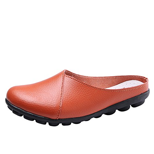 ♡QueenBB♡ Women Casual Peas Shoe,Women Flat Breathable Soft Bottom Wild Leisure Peas Boat Shoes Orange