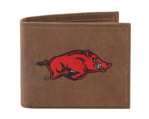 NCAA Arkansas Razorbacks Zep-Pro Crazyhorse Leather Passcase Embroidered Wallet, Light Brown