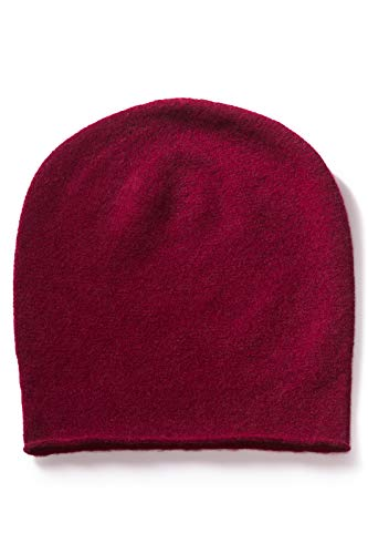 (Fishers Finery Men's 100% Pure Cashmere Slouchy Beanie - Cabernet)