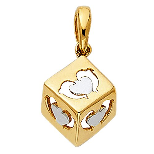 Solid 14k Yellow Gold Cube Dolphin & Heart Pendant Dice Charm Polished Genuine Small 8.5 x 8.5 mm