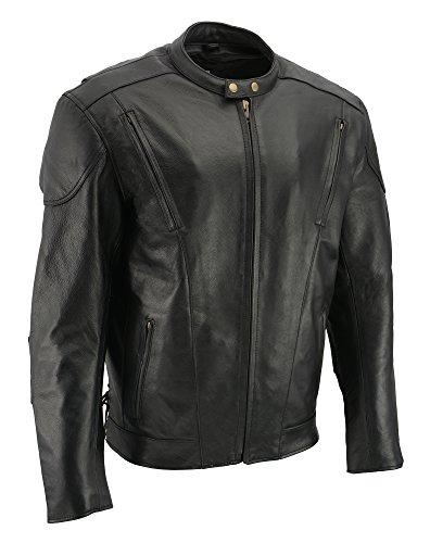 M-BOSS MOTORCYCLE APPAREL-BOS11510-BLACK-Men's cowhide leather motorcycle jacket.-BLACK-4X-LARGE (Boss Jacket Leather)