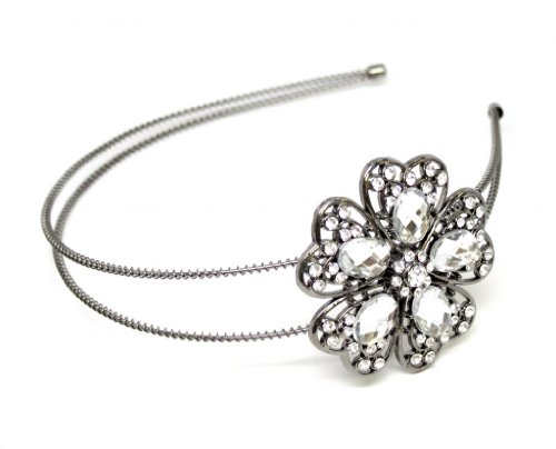 Lux Accessories Halloween Fun Gunmetal Embellished Stone Flower Wire Headband