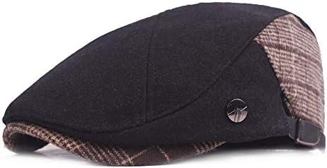 ハンチング メンズのための 冬の格子縞のアイルランドのフラットアイビーギャツビー帽子キャップ ハンチング帽子 欧米紳士 カジュアル おしゃれ 屋外作業用 (Color : Black, Size : Free size)