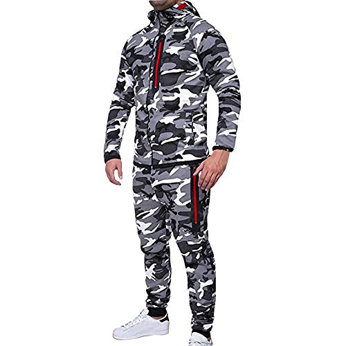 BHYDRY Fashion Men's Autumn Winter Camouflage Sweatshirt Top Pants Sets Sports Suit Polyester Tracksuit Gray