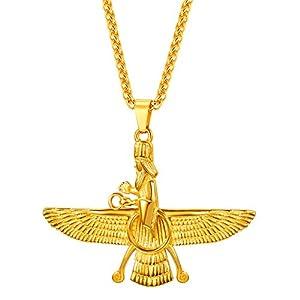 U7 Farvahar Pendant Chain Stainless/Black Gun/18K Gold Plated Symbol Iran Persian Gift Necklace, Customizable