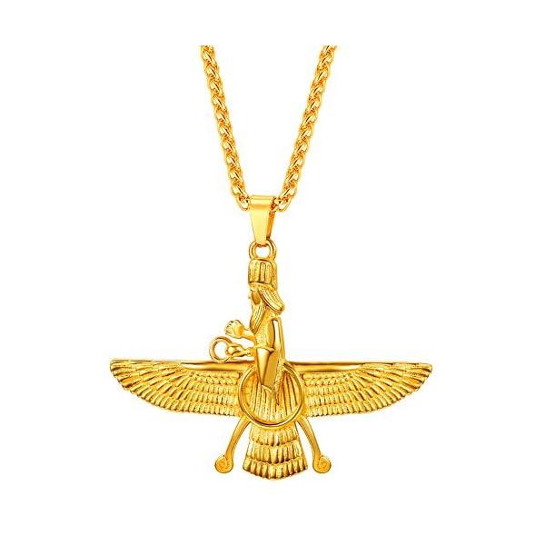 U7 Farvahar Pendant Chain Zoroastrian Jewelry Ahura Mazda Symbol