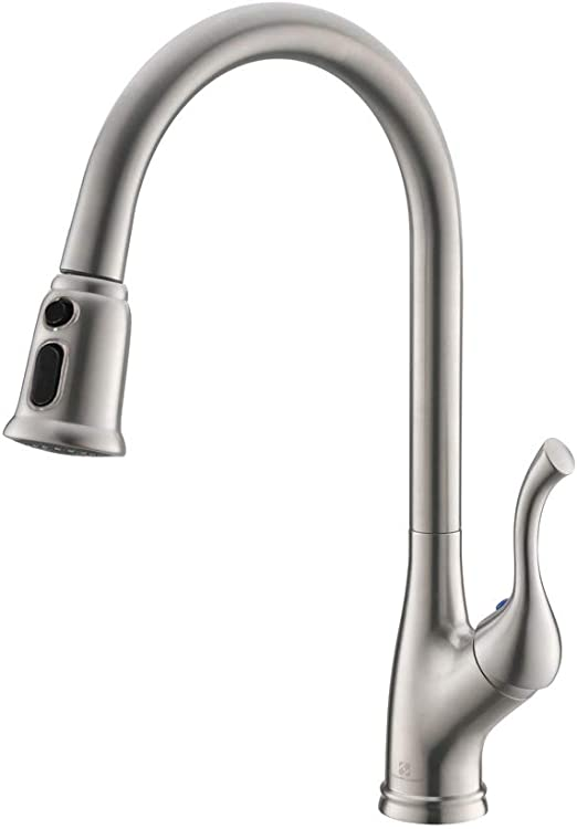 HOMELODY Single Handle Pull out Kitchen Faucet, Single Lever Kitchen Sink  Faucets with Pull Down Sprayer, Brushed Nickel K109BN Grifo de cocina