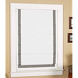 "Green Mountain Vista Thermal Blackout Cordless Roman Shade with Ribbon Border- Size 27"" wide x 63"" long, White Face Fabric with Grey Border"