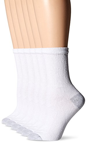 Fruit Of The Loom Women's 6 Pack Crew Socks,  White, Shoe: 4-10 (F Loom)