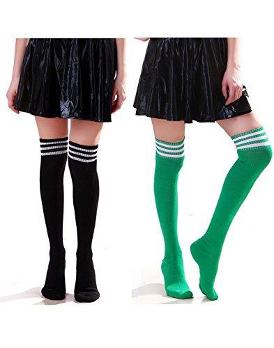HDE Women's 2 Pack Extra Long Soccer Rugby Football Athletic Sport Tube Socks (Black & Green)