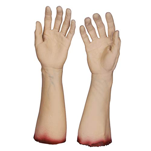 Jizhen Realistic Latex Gory Human Arm Hand Life Size Scary Bloody Blood Body Parts for Halloween Party Indoor Outdoor Prop and Cosplay Decor (Color : Hand)]()
