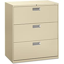 HON 3-Drawer Filing Cabinet - 600 Series Lateral Legal or Letter File Cabinet, Putty (H683)