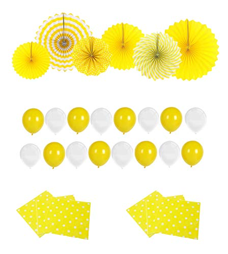 Sunshine Yellow Paper Fans Baby Shower Decoration - 6 Party Hanging Fans & 20 White and Yellow Balloons & 20 Count Yellow Polka Dot Paper Napkins for Wedding, Bridal Shower, Kids Birthday Party -