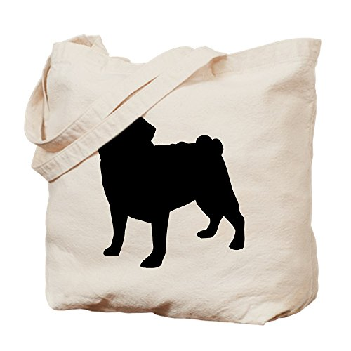 CafePress - Pug Silhouette - Natural Canvas Tote Bag, Cloth Shopping Bag (Silhouette Bag Pets Tote)