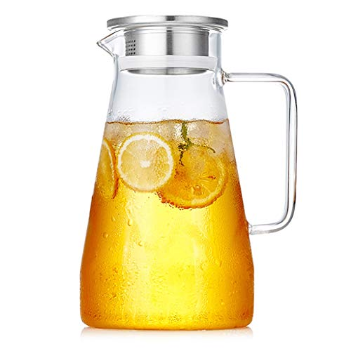 Water Coolers Teapot Juice Pot Glass Kettle Cold Kettle High Temperature Resistant Water Bottle Can Be Fired Directly Household Lemon Pot, Explosion-proof (Color : Clear, Size : -