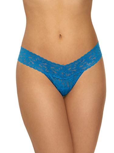 Hanky Panky Women's Signature Lace Low Rise Thong, Cerulean Blue, One -