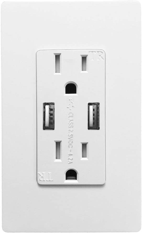 Outlet with USB High Speed Charger 4.2A Charging Capability,Duplex Receptacle 15 Amp, Tamper Resistant Wall socket USB Outlet,Child Proof Safety,Screwless Wall Plate,White (1 Pack)