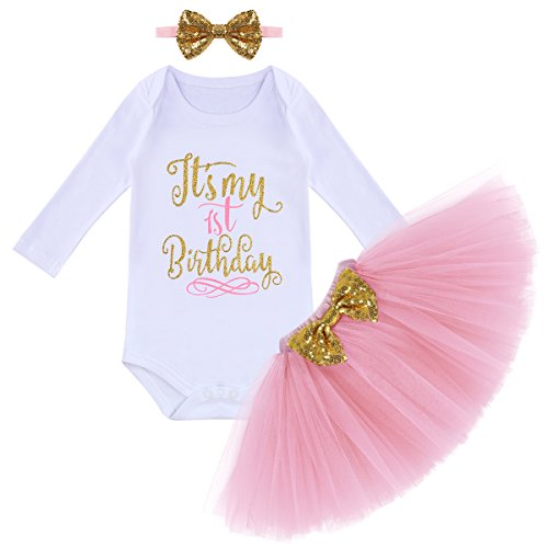 Birthday Outfit Baby Girls Top Romper+Ruffle Tulle Skirt+Sequins Bow Headband+Leg Warmers Maxi Dress Clothes 3Pcs Set Long Sleeve Pink(1 Years) One Size ()