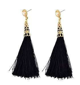 Idealway Gold Plated Pearl Multi Colors Rope Tassel Dangle Earrings for Females (Black)