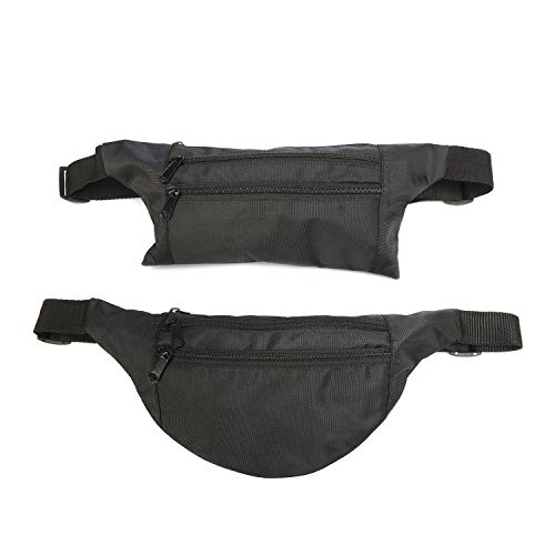 Set Of 2 Black Polyester Fanny Packs Zipper Pockets Hiking Running Travel