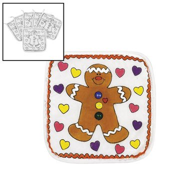 Color Your Own Canvas Holiday Pot Holders - Crafts for Kids & Fabric Art (Gingerbread Pot Holder)