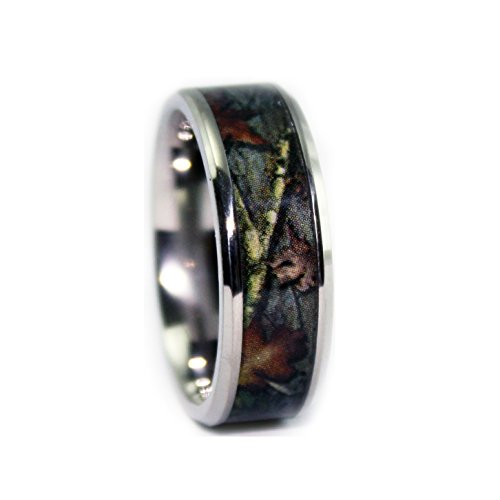 #1 Camo Bevel Titanium Rings - Camouflage Wedding Engagement Band - Ring Size 11.5