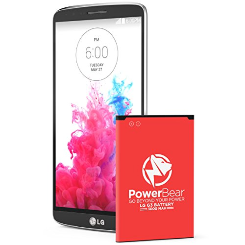 PowerBear LG G3 Battery | 3000mAh Li-Ion Battery for the LG G3 [D852, D855, AT&T D850, T-Mobile D851, Verizon VS985, Spring LS990] | G3 Spare Battery [24 Month Warranty] (Red) (Lg G3 Vigor Phone Accessories compare prices)
