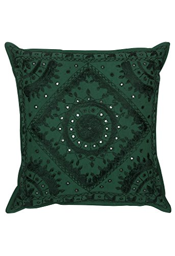 (BEAUTIFUL green Mirror Work Embroidery Indian Sari Throw Pillow Toss Cushion Covers)