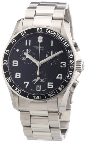 Victorinox Swiss Army Men's 'Chrono Classic' Swiss Quartz Stainless Steel Casual Watch, Color:Silver-Toned (Model: 241494)