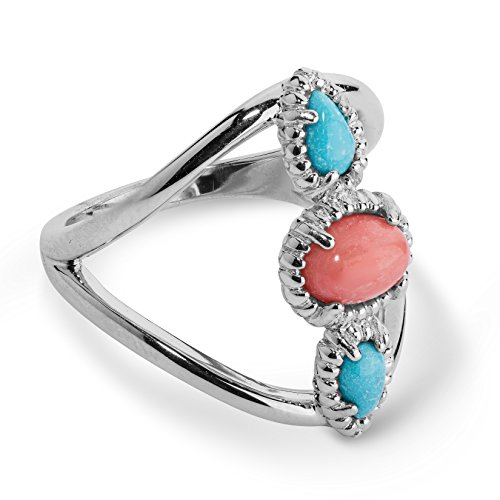 Carolyn Pollack Sterling Silver Turquoise and Salmon Coral Three Stone Ring Size 9