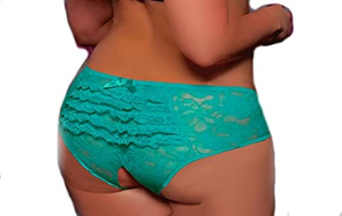 Lacy Line Plus Size Sexy Open Crotch Ruffled Back Floral Lace Panties (3x/4x,Turquoise) (3x Lingerie Crotchless)