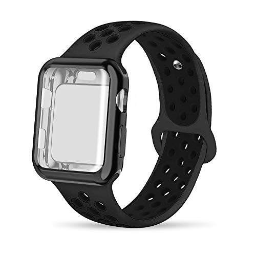 INTENY Compatible for Apple Watch Band 42mm with Case, Soft Silicone Sport Wristband with Apple Watch Screen Protector Compatible for iWatch Apple Watch Series 1,2,3,4, 42mm M/L, Anthracite Black