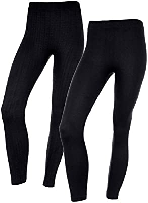 Womens Soft Fur Lined Fall & Winter Leggings in 2 Great Textures & Patterns