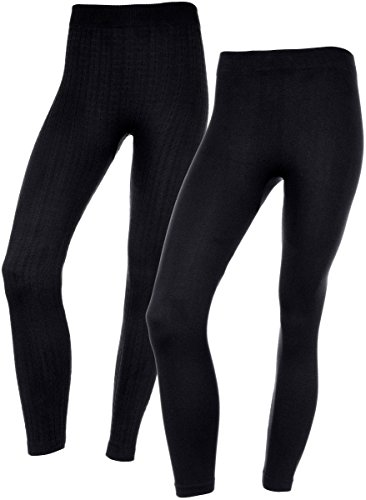 Womens Soft Fur Lined Fall & Winter Leggings in 2 Great Textures & Patterns (Large/X-Large, 28884 Black)