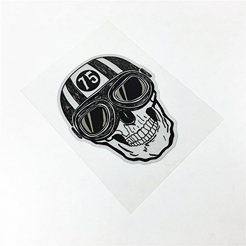 (Cafe Racer Skull Knight 75 Car Sticker Auto Whole Body Window Motorcycle Vinyl Decals 10x8cm)