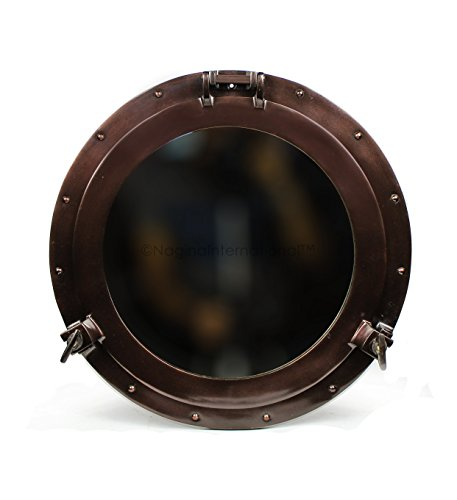 Nagina International Antique Coke Copper Wall Mounted Nautical Premium Aluminum Vintage Mirror | Ship's Porthole Window | Pirate's Maritime Nautical Themed Decor (24 Inches, Light Antique Mirror) ()