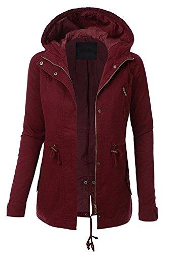 FASHION BOOMY Women Zip Up Military Anorak Jacket W/Pockets (Large, Burgundy)