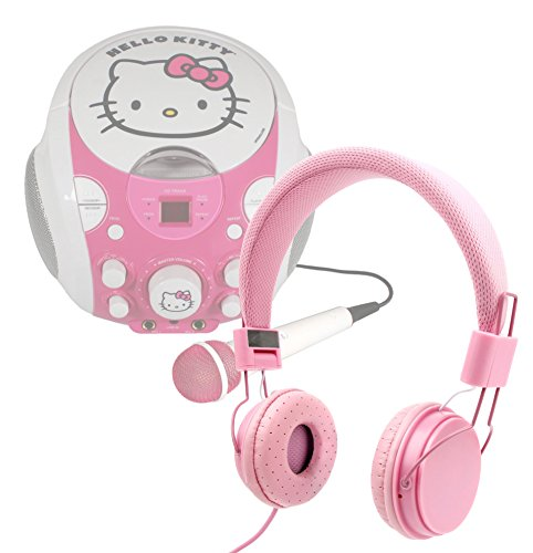 DURAGADGET Pretty Pink Ultra-Stylish Kids Matching Fashion Headphones - Compatible with Hello Kitty Portable CDG Karaoke Machine