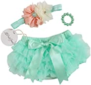 3pcs Newborn Baby Girls Chiffon Bloomer & Headband Bracelets Set Newborn Photo Prop Baby Girl Cake Smash O