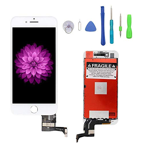 (Screen Replacement Compatible with iPhone 7 Plus White, LCD Display & Touch Screen Digitizer Frame Assembly Set with 3D Touch Free Repair Tools)