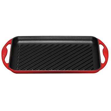 Le Creuset Enameled Cast-Iron 13-by-8-1/2-Inch Rectangular Skinny Grill, Cherry